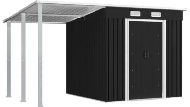 """ZUN Garden Shed with Extended Roof Anthracite 136.2""""x76""""x71.3"""" Steel 144036"""
