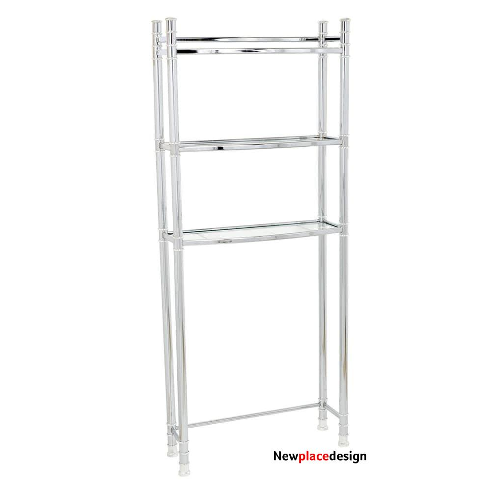 Zenna Home Chrome Spacesaver With Tempered Glass Shelves (Spacesavr Glass Chr), Grey