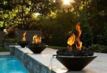 backyard with swimming pool and fire