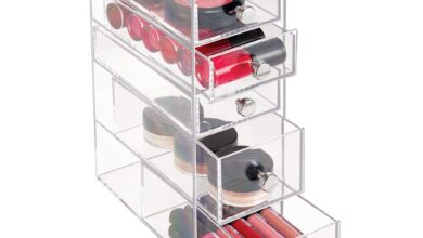 """iDesign Clarity Plastic Cosmetic 5-Drawer, Jewelry Countertop Organization for Vanity, Bathroom, Bedroom, Desk, Office, 3.5"""" x 7"""" x 10"""", Clear"""