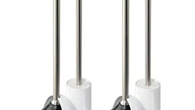 mDesign Compact Plastic Toilet Bowl Brush and Plunger Combo Set with Holder - Caddy for Bathroom Storage - Sturdy, Heavy Duty, Deep Cleaning - White/Brushed